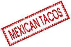 mexican tacos red square grungy stamp isolated on white background - stock illustration