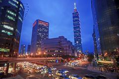 Intersection view of taipei city, Taiwan - stock photo
