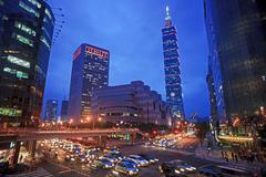 Intersection view of taipei city, Taiwan - stock photo