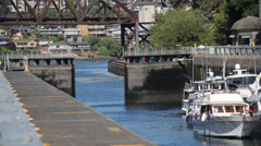 Ballard Locks gates closing prior to fill up Stock Footage