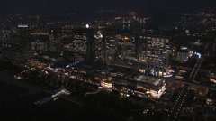 Aerial illuminated Tokyo city Ferris Wheel Daikanransha skyline Odaiba Japan Stock Footage