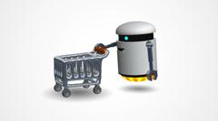 Little robot pushing a shopping cart - stock footage