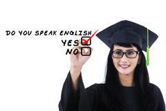 Stock Illustration of language bachelor writes on whiteboard