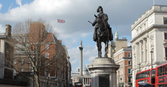 4K video of the Prince George statue on Whitehall with Nelson's Column in London Stock Footage