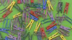 Assorted coloured  paper clips. Stock Footage