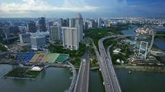 Ultra HD 4K Singapore Aerial View on Highway and Flyer Stock Footage