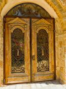 Old door with a lattice Stock Photos