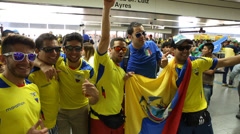 Ecuadorian fans celebrate before the first game of World Cup 2014 Stock Footage