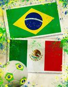 Brazil vs mexico soccer ball concept Stock Illustration