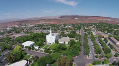 Aerial St George mesa LDS Mormon Temple HD Stock Footage