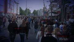 Scanning people in street Stock Footage