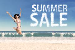Summer sale clouds and jumping woman  Stock Illustration