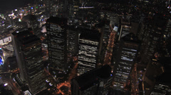 Aerial Metropolis Tokyo illuminated skyscrapers travel Financial District Japan Stock Footage