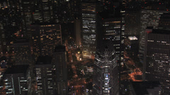 Aerial Metropolis Tokyo night illuminated skyscrapers Central Business District - stock footage