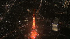 Aerial illuminated close up Metropolis night Tokyo Tower Odaiba Japan Stock Footage