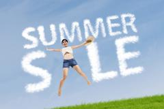 Woman with summer sale sign Stock Illustration
