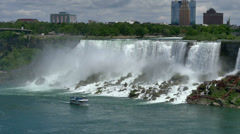 Maid of the Mist Sails Past the American Falls Stock Footage
