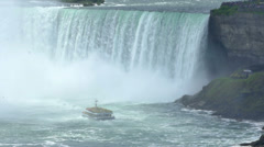 Tourboat at Niagara Falls in Slow Motion Stock Footage