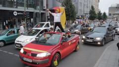German football fans celebrate victory Stock Footage