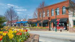 Restaurants and Flowers during Spring in Hendersonville, NC Stock Footage