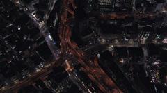 Aerial Tokyo illuminated Hakozaki interchange Business District Japan Stock Footage
