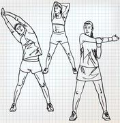 stretching exercises sketch illustration - stock illustration
