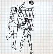 Girls playing volleyball sketch illustration Stock Illustration