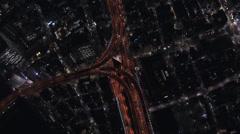 Aerial Tokyo illuminated Hakozaki interchange Business District Japan - stock footage