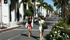 BlackMagic Production camera - Girls walking on Rodeo Drive, Beverly Hills Stock Footage