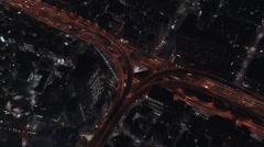 Aerial Tokyo illuminated Hakozaki interchange travel Japan Asia - stock footage