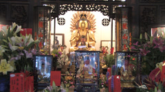 Main hall with alter in Longshan temple Stock Footage