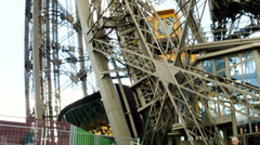 Eiffel tower metal construction. Shot from inside. Paris, France. Stock Footage