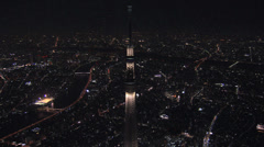 Aerial illuminated Skytree Tower cityscape Sumida district Tokyo Japan Stock Footage