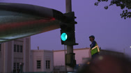 Stock Video Footage of Shuttle Endeavor crosses intersection worker checks clearance HD