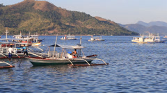 Boats on the sea in Coron, Philippines - stock footage