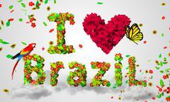 I love brazil leaves particles 3D Stock Illustration