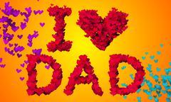 I love Dad Particles Heart Shape 3D orange background Stock Illustration