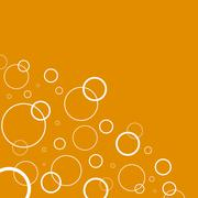 Abstract background with white circles on orange - stock illustration