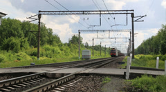 Freight trains of masts and greenery Stock Footage