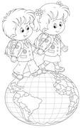 Schoolchildren going on a globe - stock illustration