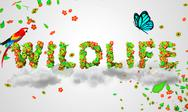 Stock Illustration of Wildlife leaves particles 3D