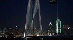 Night view of Magaret Hunt Bridge and Dallas Skyline Stock Footage