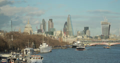 4K video of the stunning London skyline along the Thames - stock footage