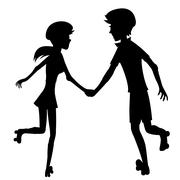Happy roller-skating couple (silhouette) - stock illustration