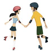 Happy roller-skating couple - stock illustration