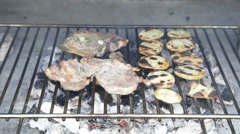 ORGANIC BBQ-Grilled meat with crispy organic potatoes Stock Footage