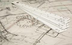 metric ruler - stock photo