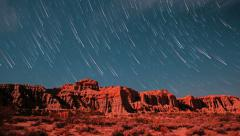 Comet Star Trails Red Rock Canyon Cliffs Timelapse Stock Footage