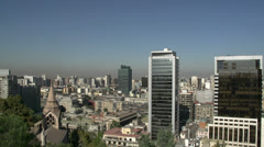 Pan Santiago de Chile city view from Santa Lucía Hill - stock footage