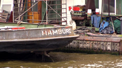 Ship with the inscription Hamburg on the dock in Hamburg Stock Footage